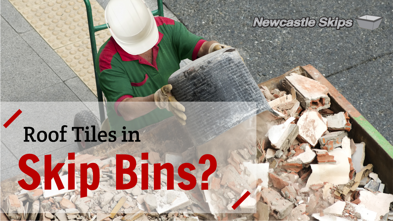 a construction worker was disposing some roof tiles in skip bins